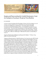 Staging and Representing the Scottish Renaissance Court An Evaluation of Lyndsay's Theatrical Time Machine
